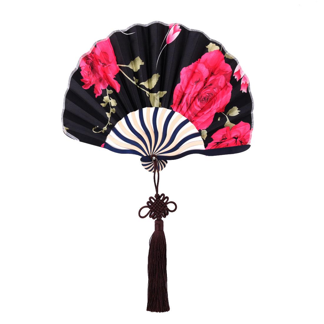 Bamboo Frame Flower Pattern Chinese Style Handheld Dancing Folding Fan Black Fuchsia