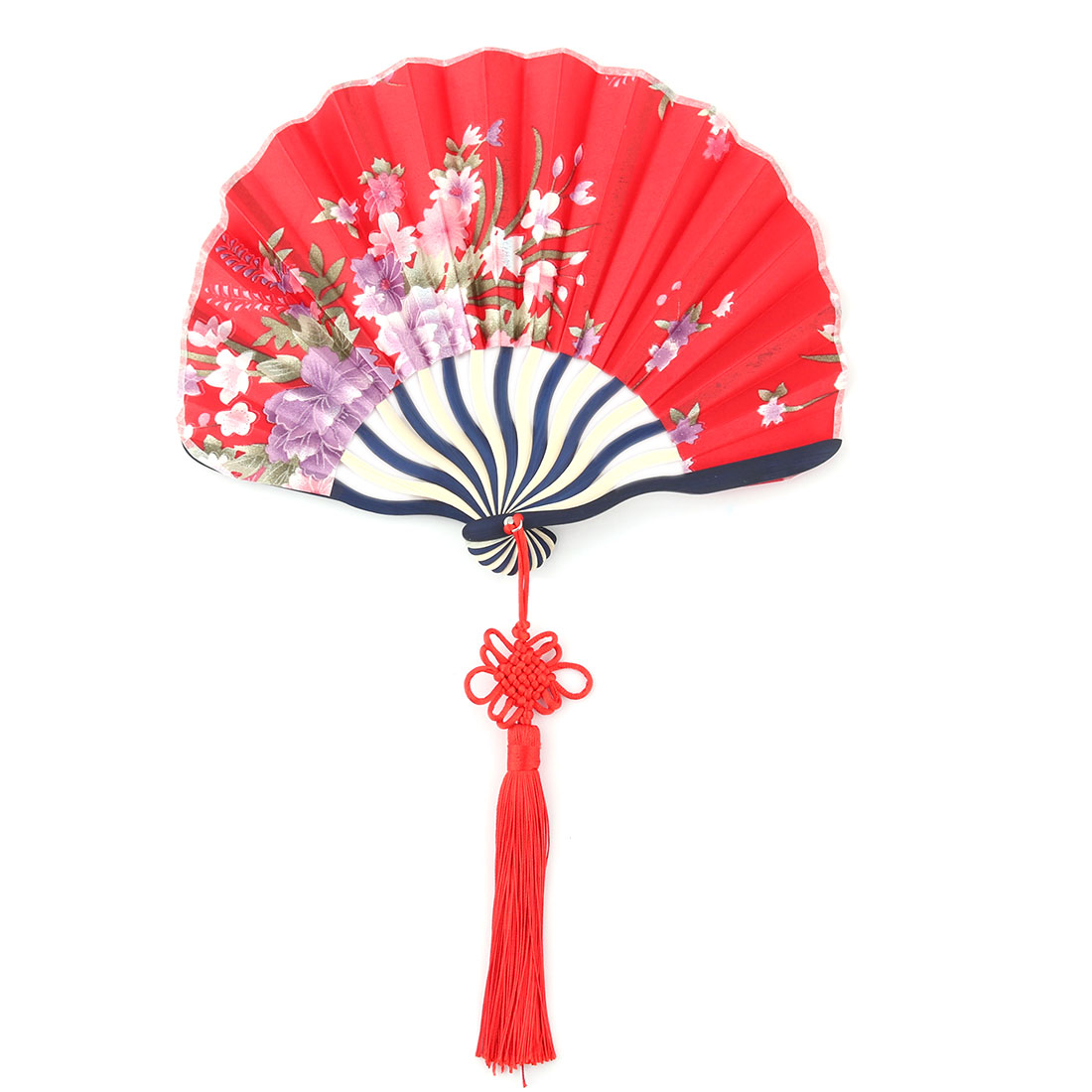 Bamboo Frame Flower Pattern Chinese Style Handheld Dancing Folding Fan Red