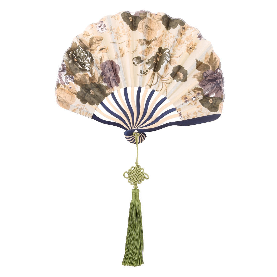 Bamboo Frame Flower Pattern Chinese Style Handheld Dancing Folding Fan Beige