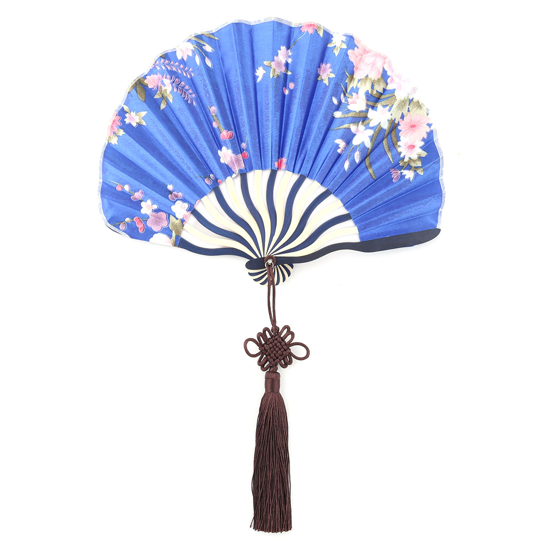 Bamboo Frame Flower Pattern Chinese Knot Tassel Decor Dancing Hand Fan Royal Blue