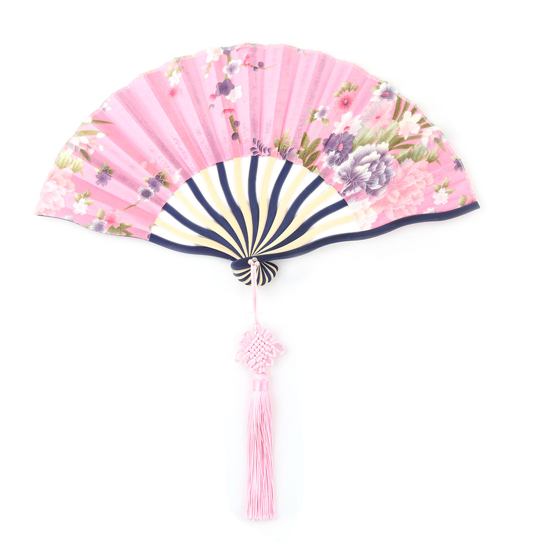 Women Flower Pattern Chinese Knot Tassel Hanging Decor Folding Hand Fan Pink