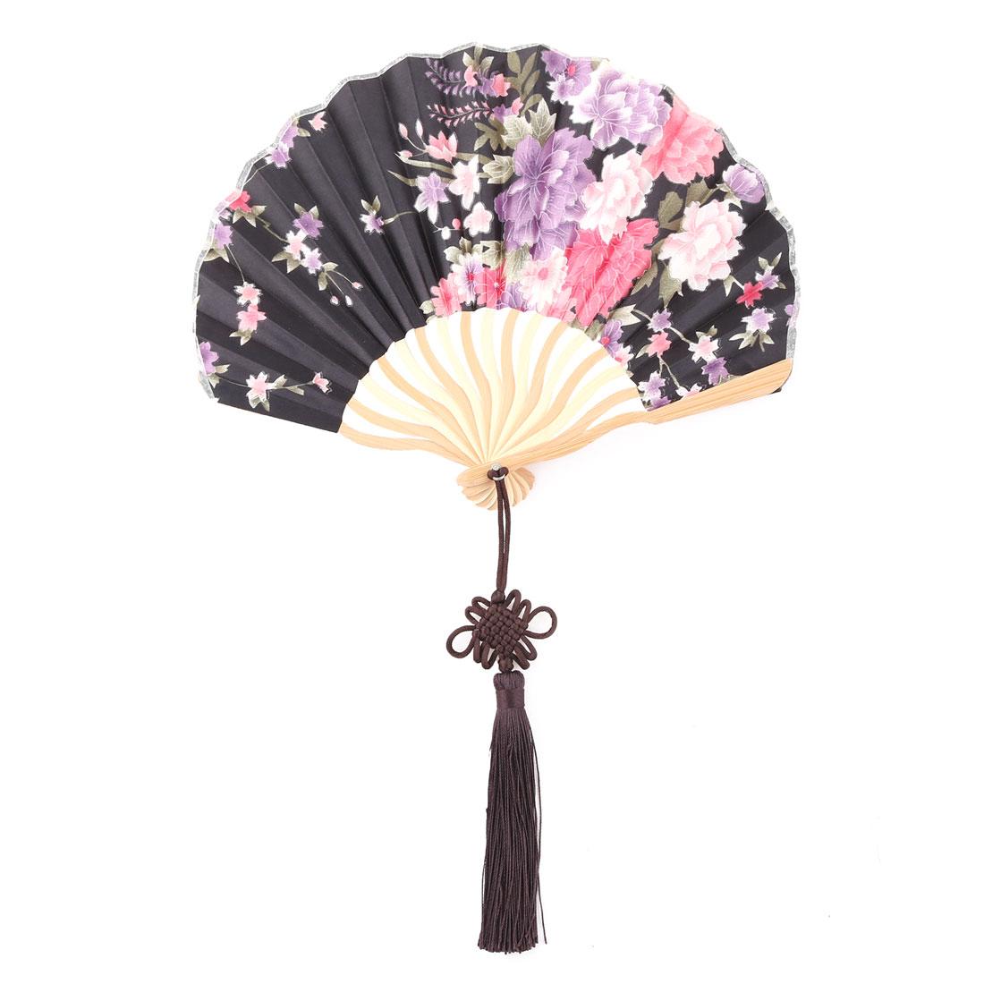 Bamboo Frame Chinese Knot Tassel Pendant Decor Dancing Folding Hand Fan Black
