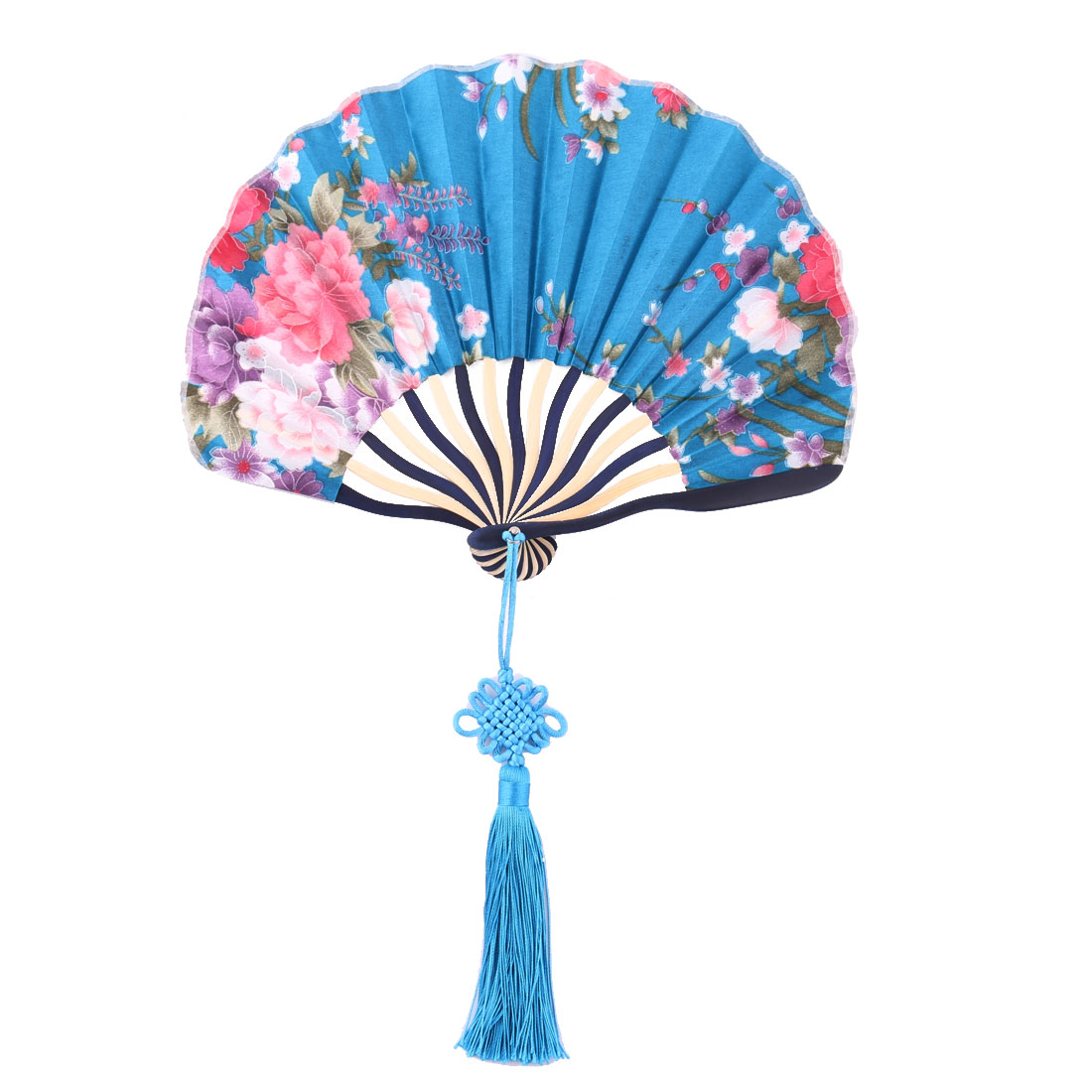 Bamboo Frame Flower Pattern Chinese Style Handheld Dancing Folding Fan Teal Blue