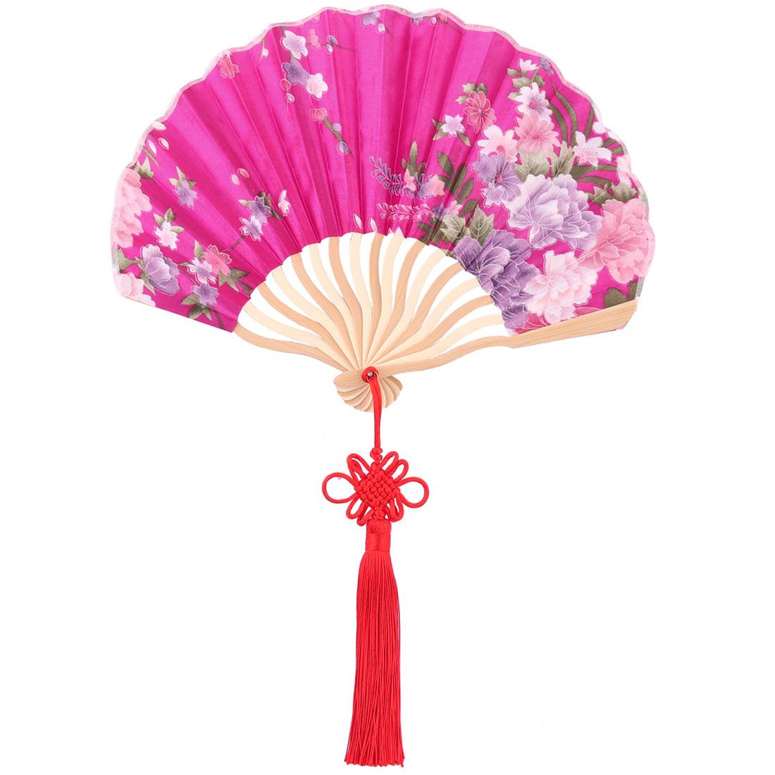 Bamboo Frame Chinese Knot Tassel Pendant Decor Dancing Folding Hand Fan Fuchsia