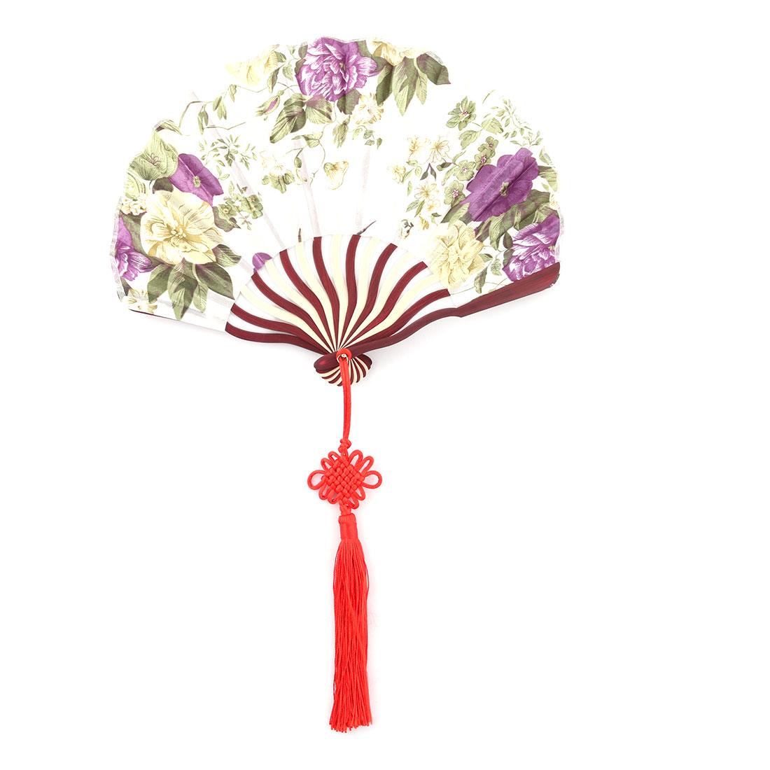 Women Bamboo Frame Flower Pattern Handheld Folding Summer Cooling Dancing Fan White Green