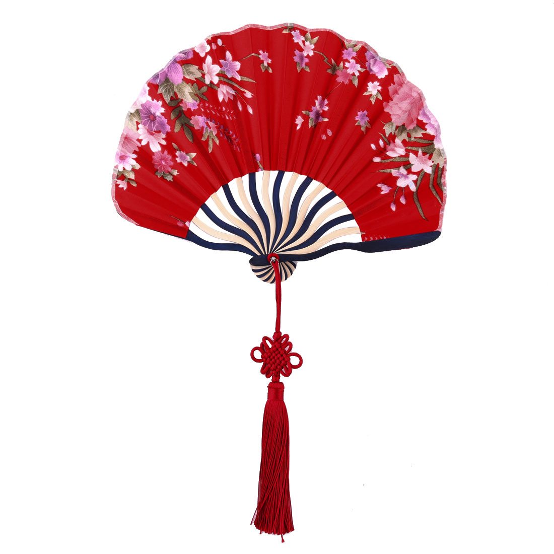 Lady Bamboo Frame Flower Pattern Chinese Knot Tassel Decor Dancing Hand Fan Red