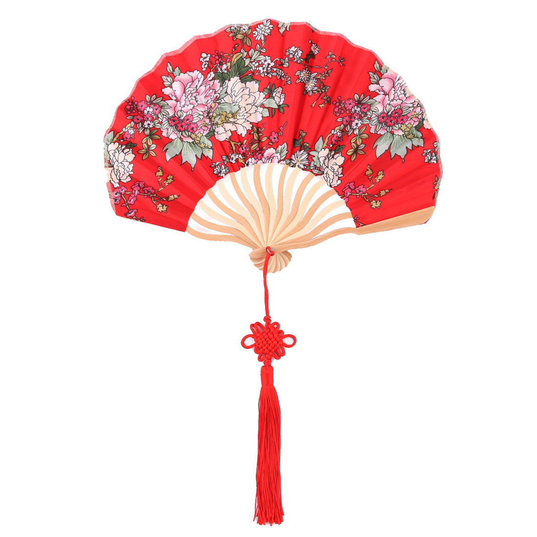 Bamboo Frame Chinese Knot Tassel Pendant Decor Dancing Folding Hand Fan Red