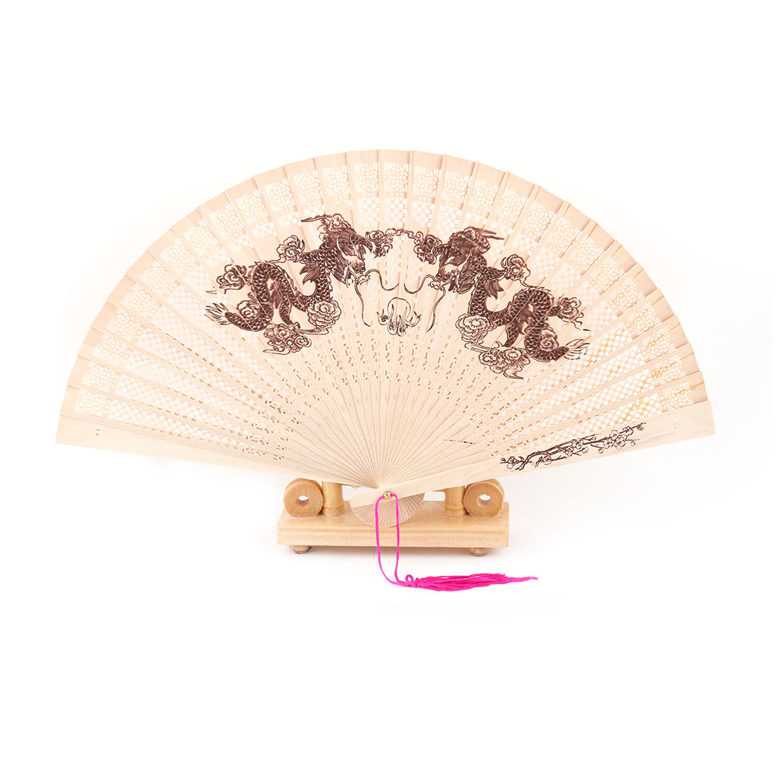 Bamboo Dragon Pattern Tassel Decor Folding Hand Fan Display Holder Beige 2 in 1