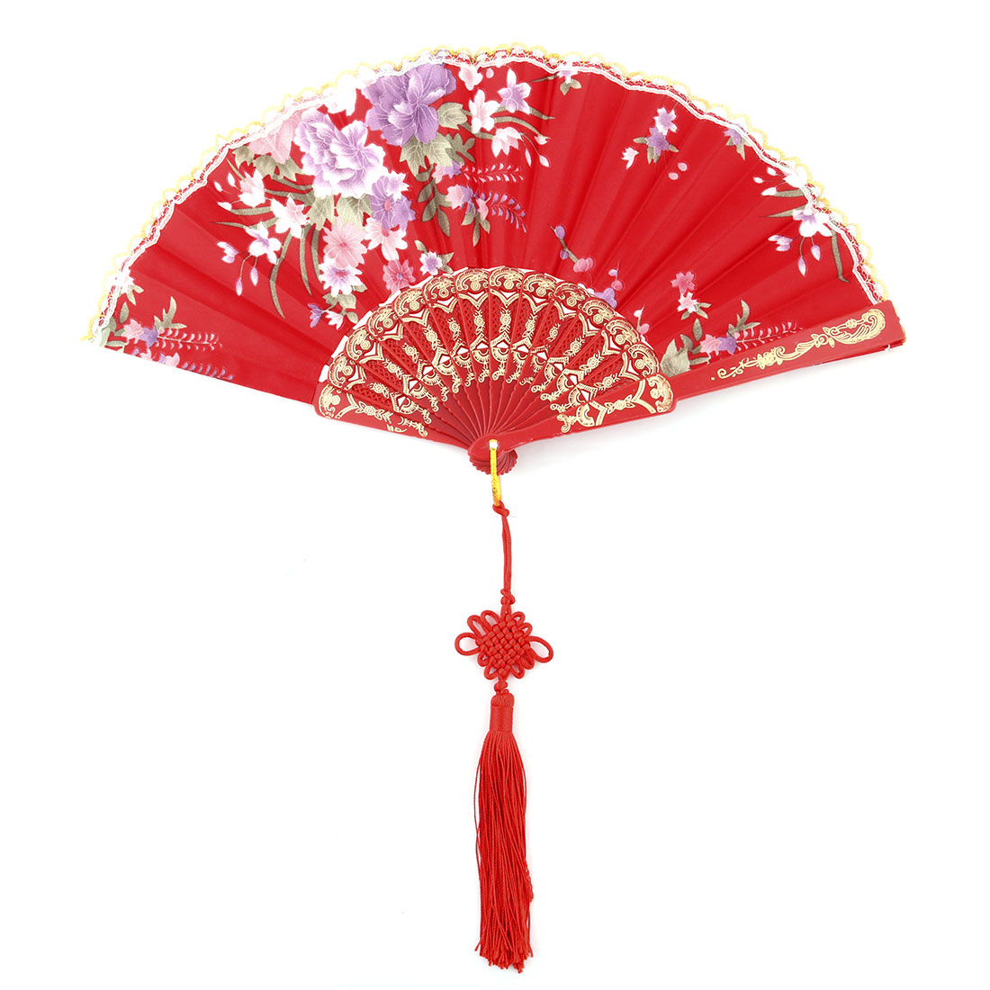 Plastic Frame Flower Pattern Tassel Decor Folding Cooling Dancing Hand Fan Dark Red