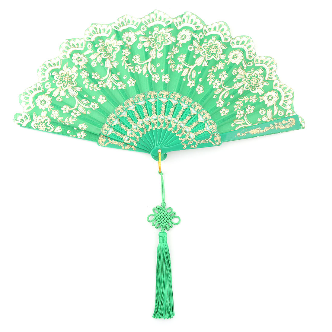 Plastic Frame Chinese Knot Tassel Pendant Summer Cooling Folding Hand Fan Green