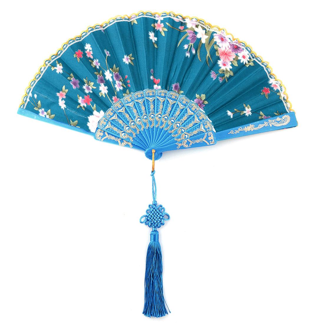 Plastic Frame Flower Pattern Tassel Decor Folding Cooling Dancing Hand Fan Teal Blue