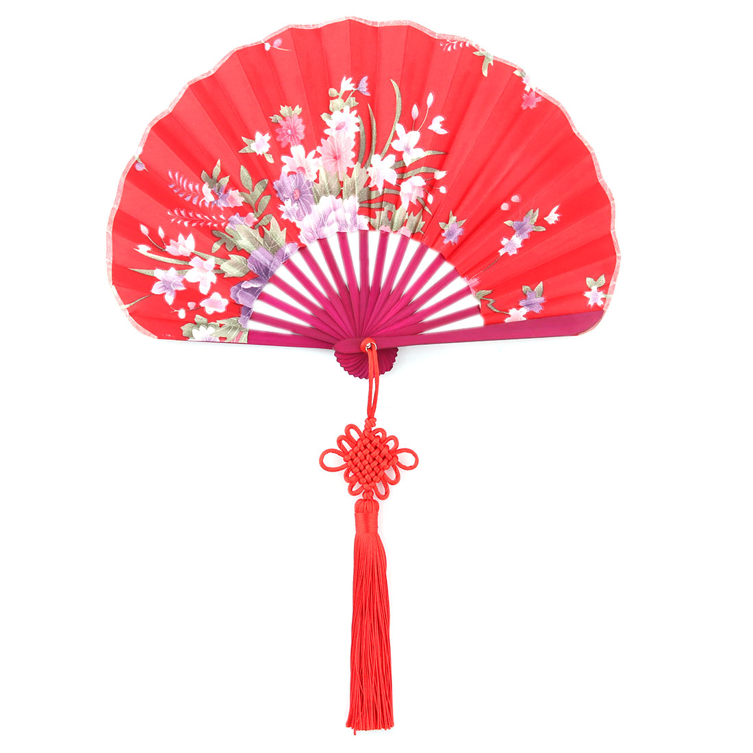 Gift Bamboo Frame Flower Print Chinese Knot Pendant Decor Hand Folding Fan Red