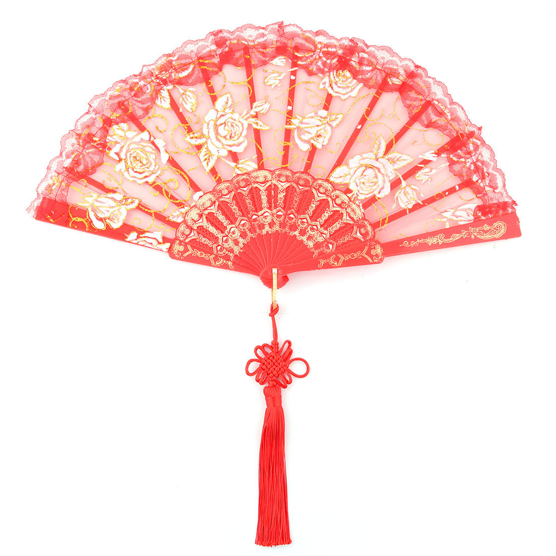 Lady Polyester Chinese Knot Tassel Pendant Summer Cooling Folding Hand Fan Red
