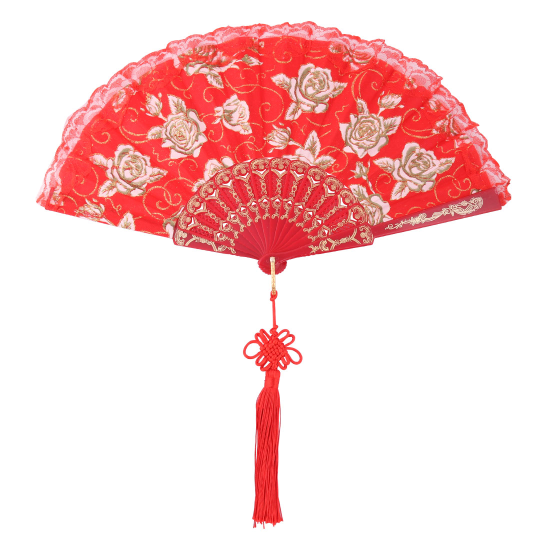 Lady Polyester Chinese Knot Tassel Pendant Summer Cooling Folding Hand Fan Dark Red