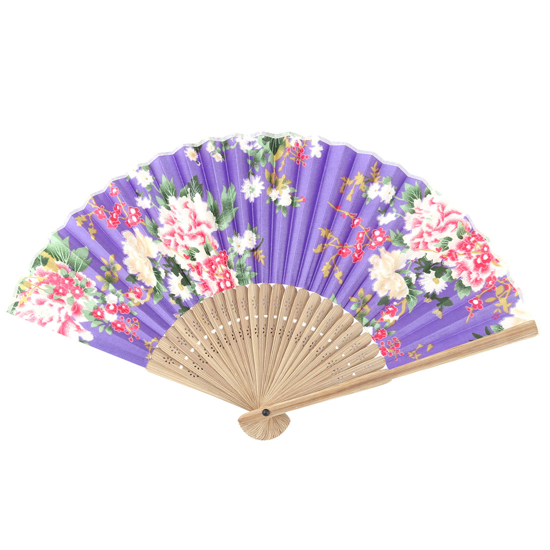 Wedding Bamboo Flower Printed Retro Style Folding Dancing Hand Fan 21cm Length