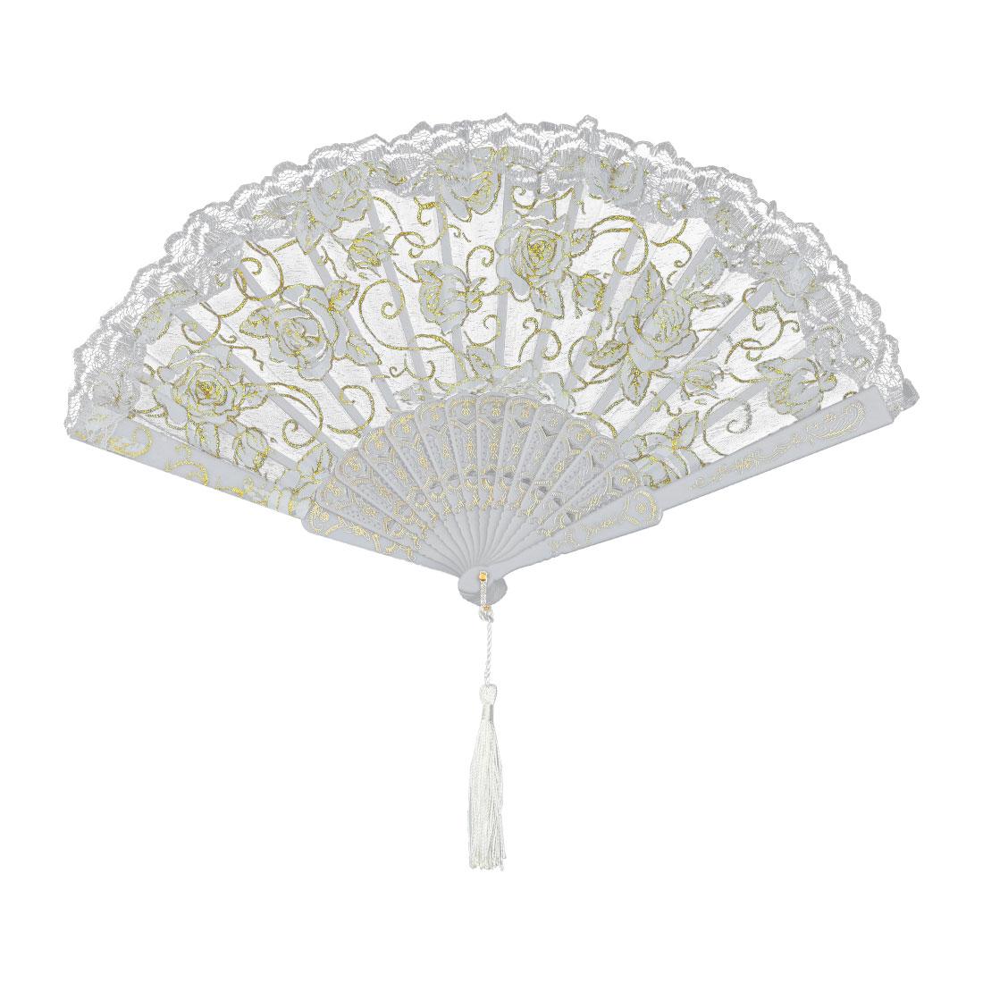 Polyester Tassel Pendant Decor Summer Cooling Folding Hand Fan White Gold Tone