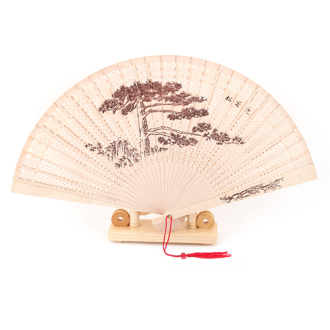 Bamboo Tree Pattern Tassel Decor Folding Hand Fan Display Holder Beige 2 in 1