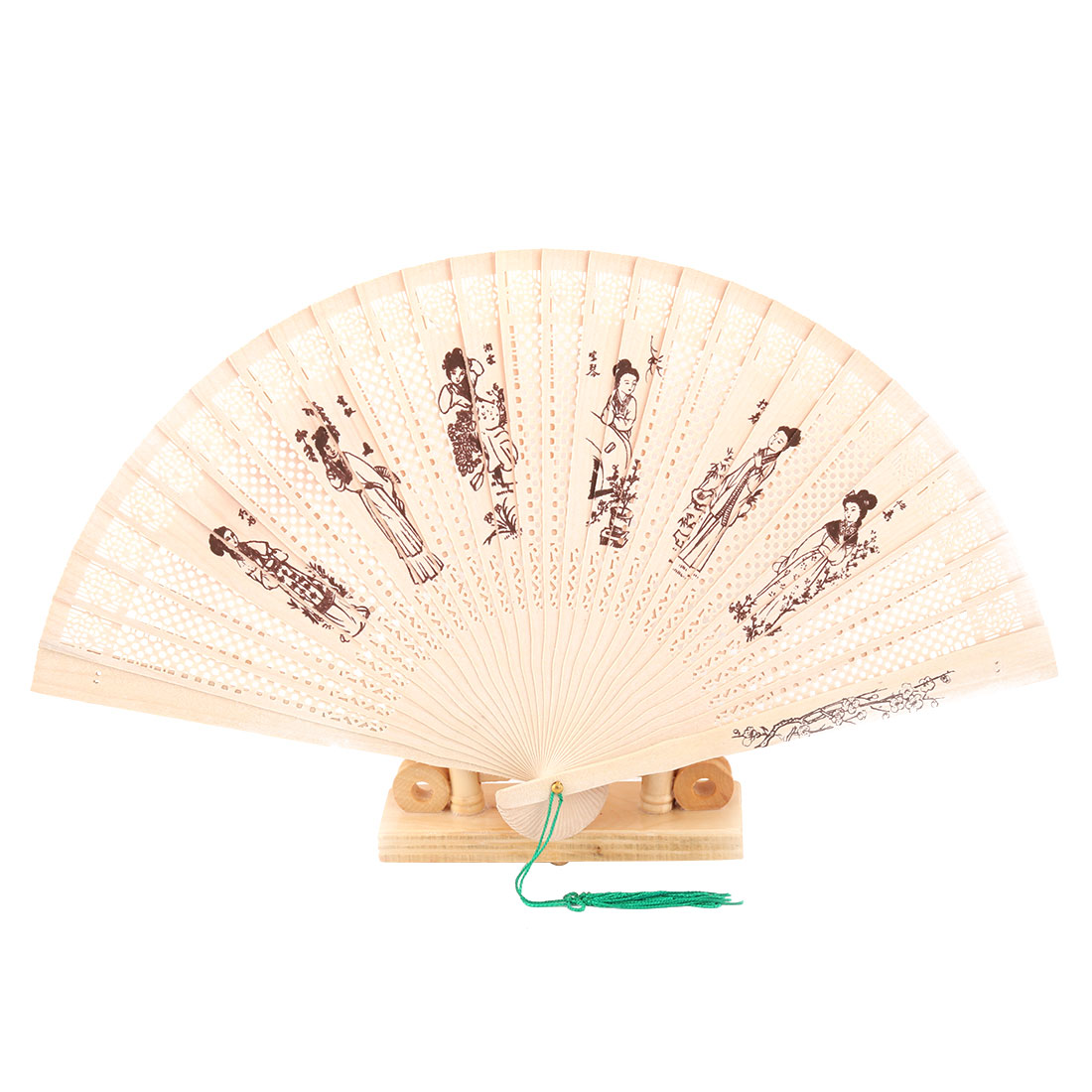 Bamboo Women Pattern Tassel Decor Folding Hand Fan Display Holder Beige 2 in 1