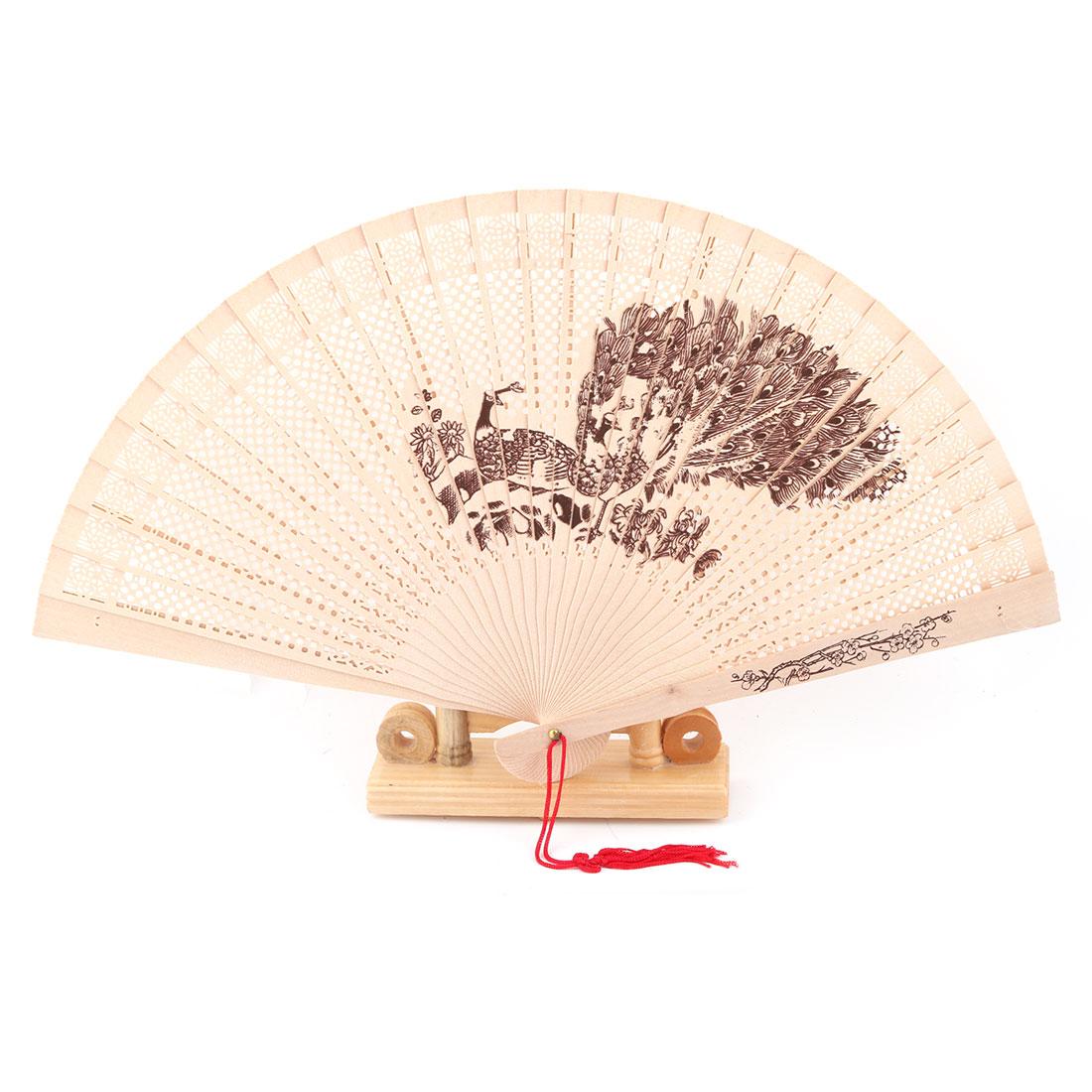 Bamboo Peacock Pattern Tassel Decor Folding Hand Fan Display Holder Beige 2 in 1