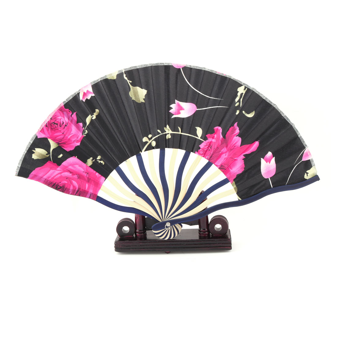 Household Flower Pattern Scallop Shaped Chinese Style Folding Dancing Fan 2 in 1