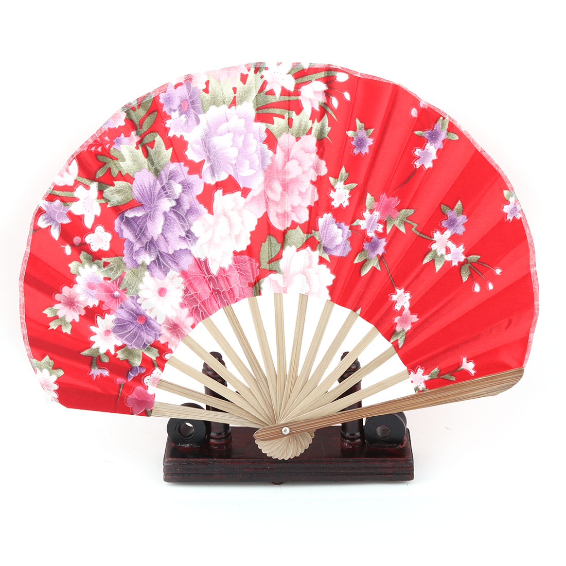 Bamboo Flower Pattern Chinese Style Folding Hand Fan Display Holder Red 2 in 1