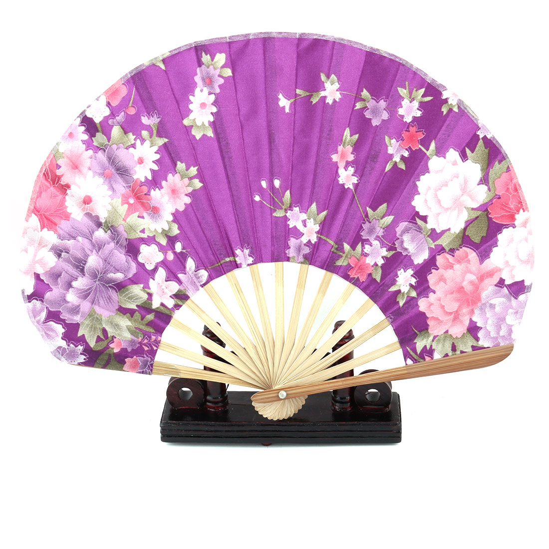 Home Bamboo Flower Pattern Chinese Style Folding Hand Fan Display Purple 2 in 1