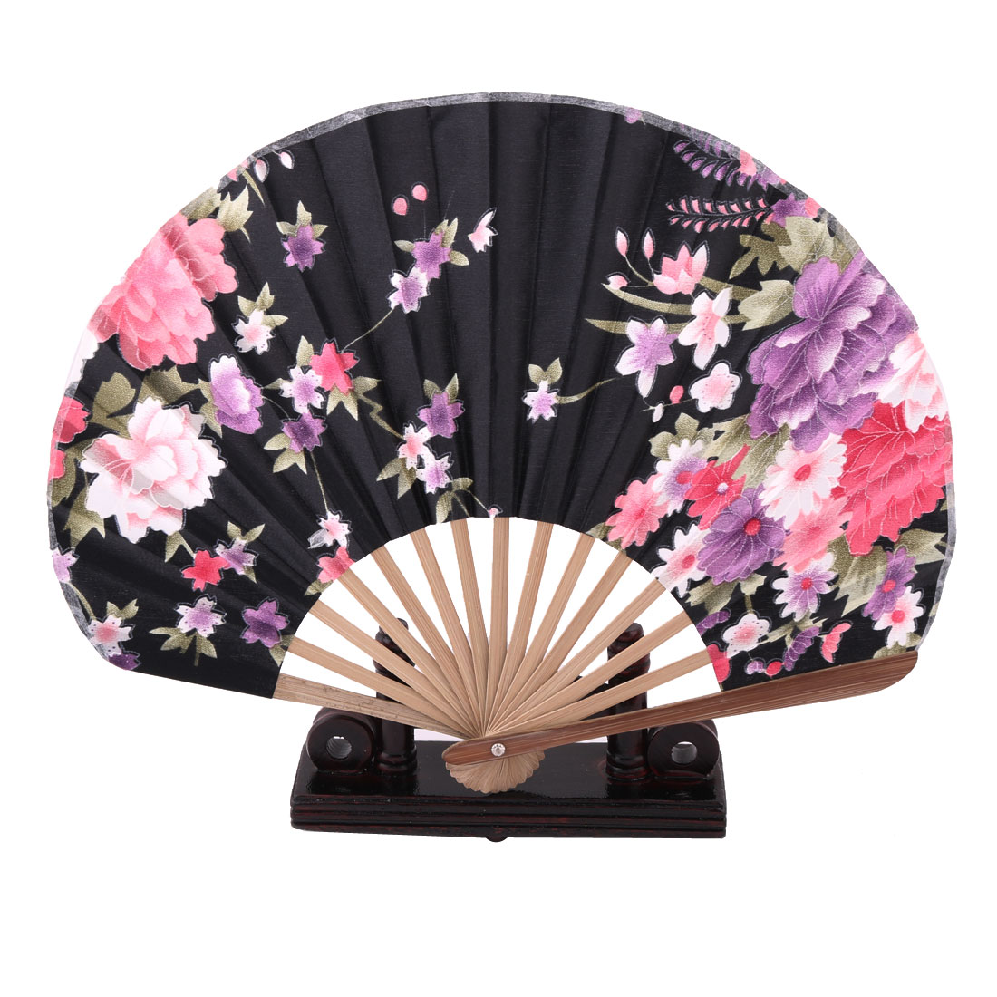 Home Wood Flower Print Chinese Style Handheld Folding Fan Display Holder Multicolor 2 in 1