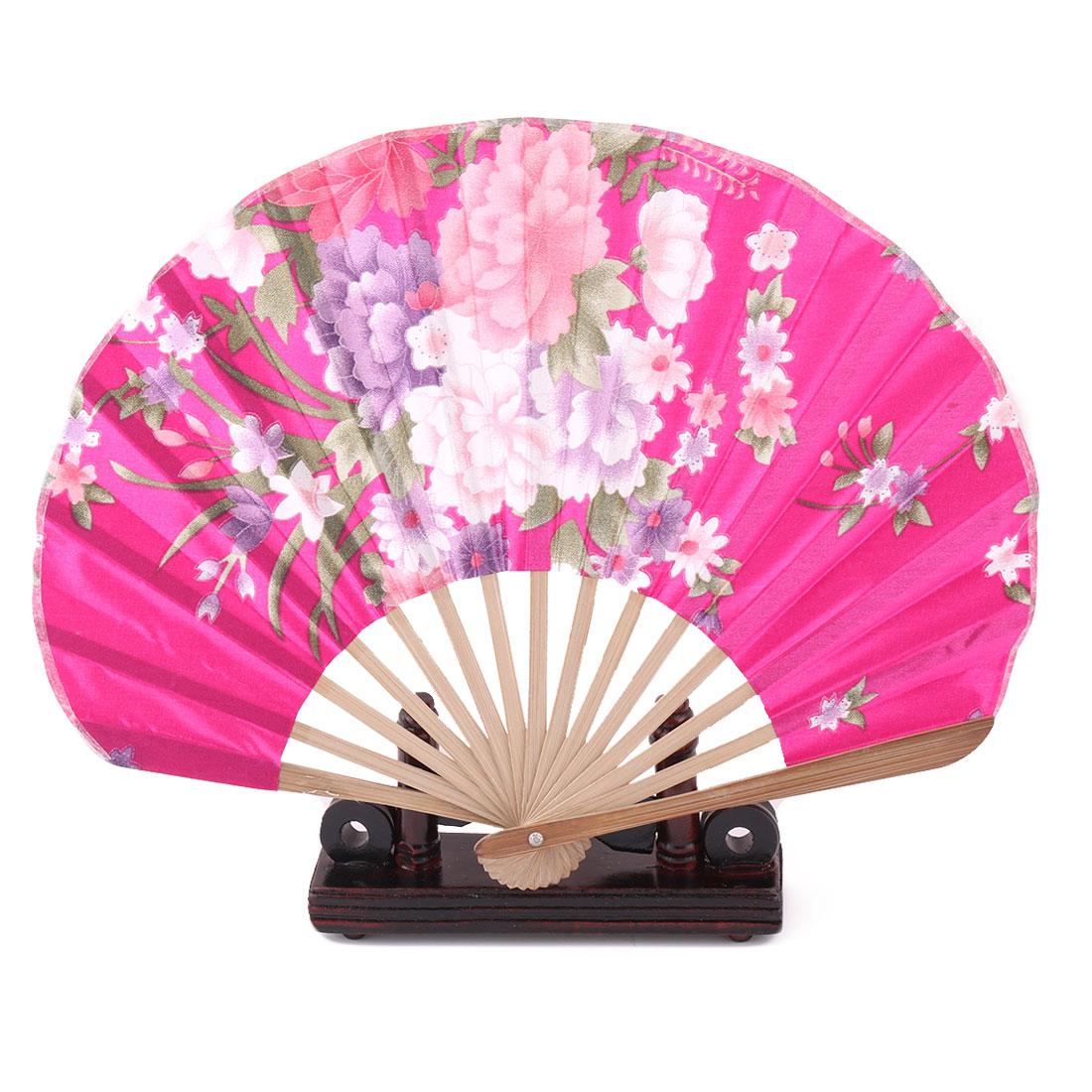 Home Wood Flower Print Chinese Style Handheld Folding Fan Display Holder Fuchsia 2 in 1
