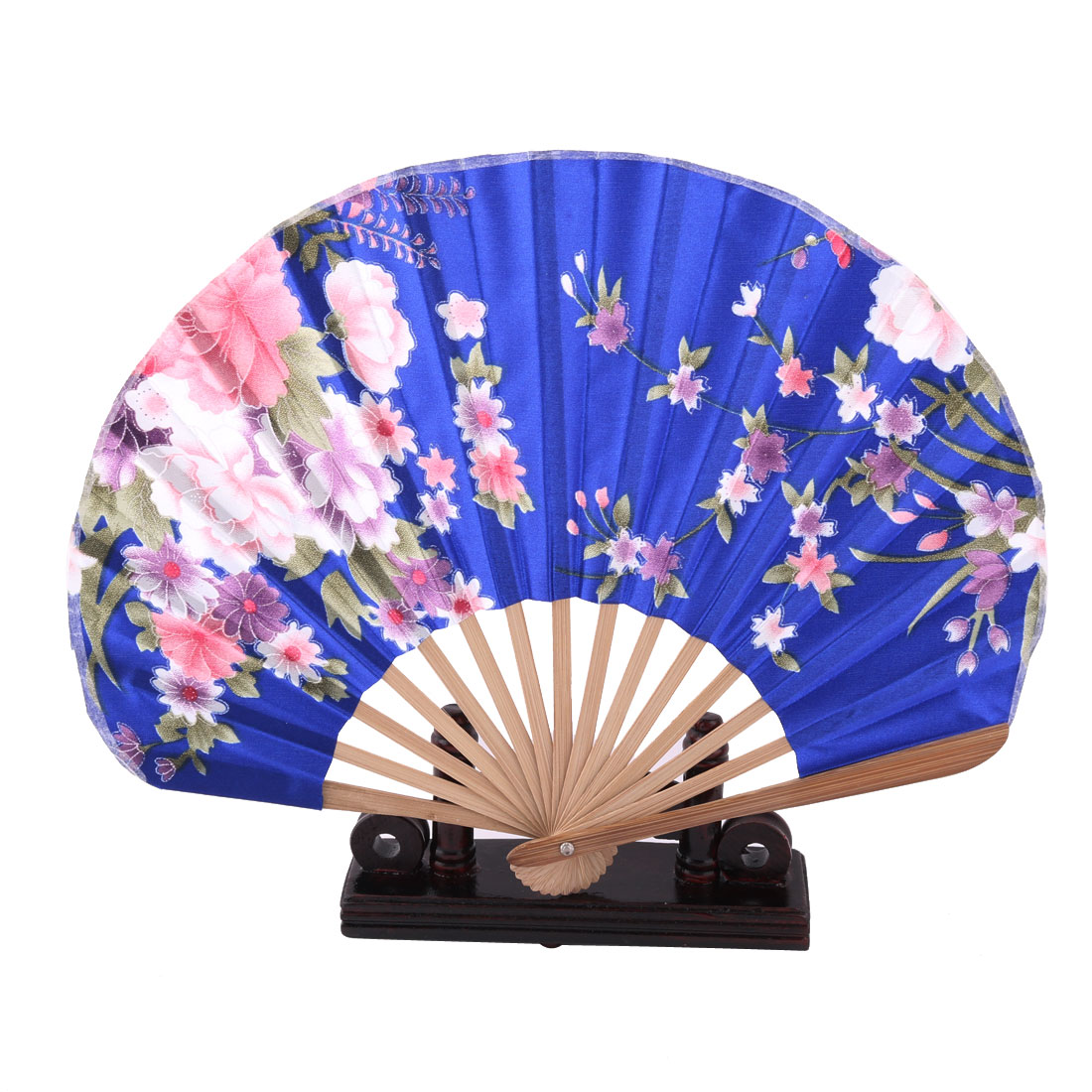 Home Wood Flower Print Chinese Style Handheld Folding Fan Display Holder Royal Blue 2 in 1