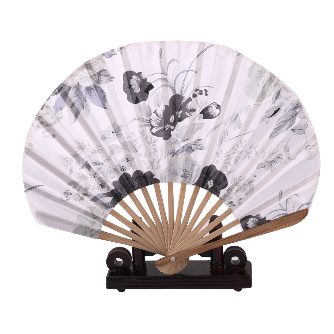 Home Wood Flower Print Chinese Style Handheld Folding Fan Display Holder White 2 in 1