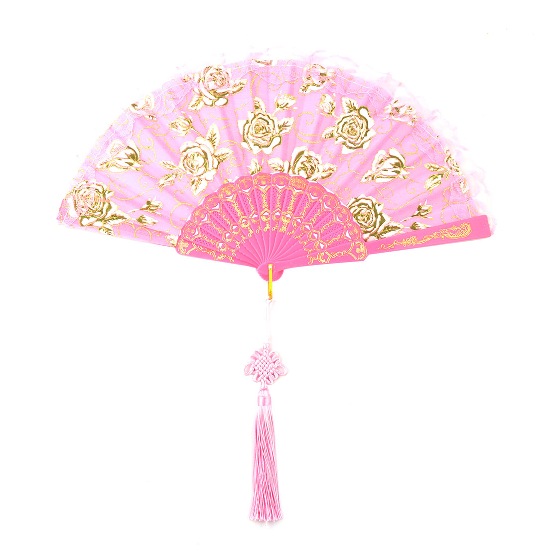 Lady Polyester Chinese Knot Tassel Pendant Summer Cooling Folding Hand Fan Pink