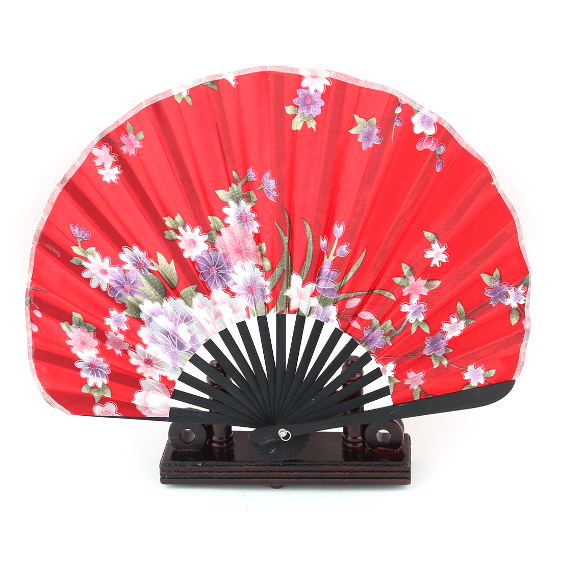 Dance Bamboo Flower Pattern Cooling Folding Hand Fan Display Holder Red 2 in 1