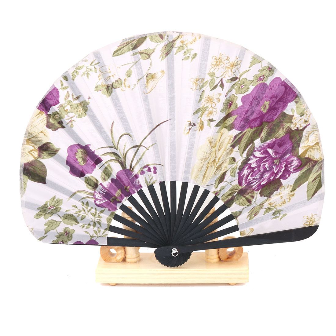 Dance Bamboo Flower Pattern Cooling Folding Hand Fan Display Multicolor 2 in 1
