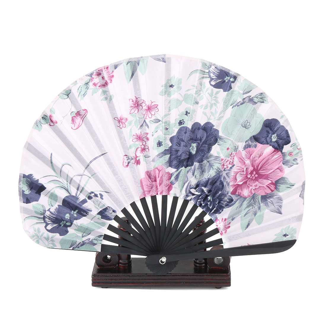 Home Bamboo Flower Print Chinese Style Hand Fan Display Holder Navy Blue 2 in 1