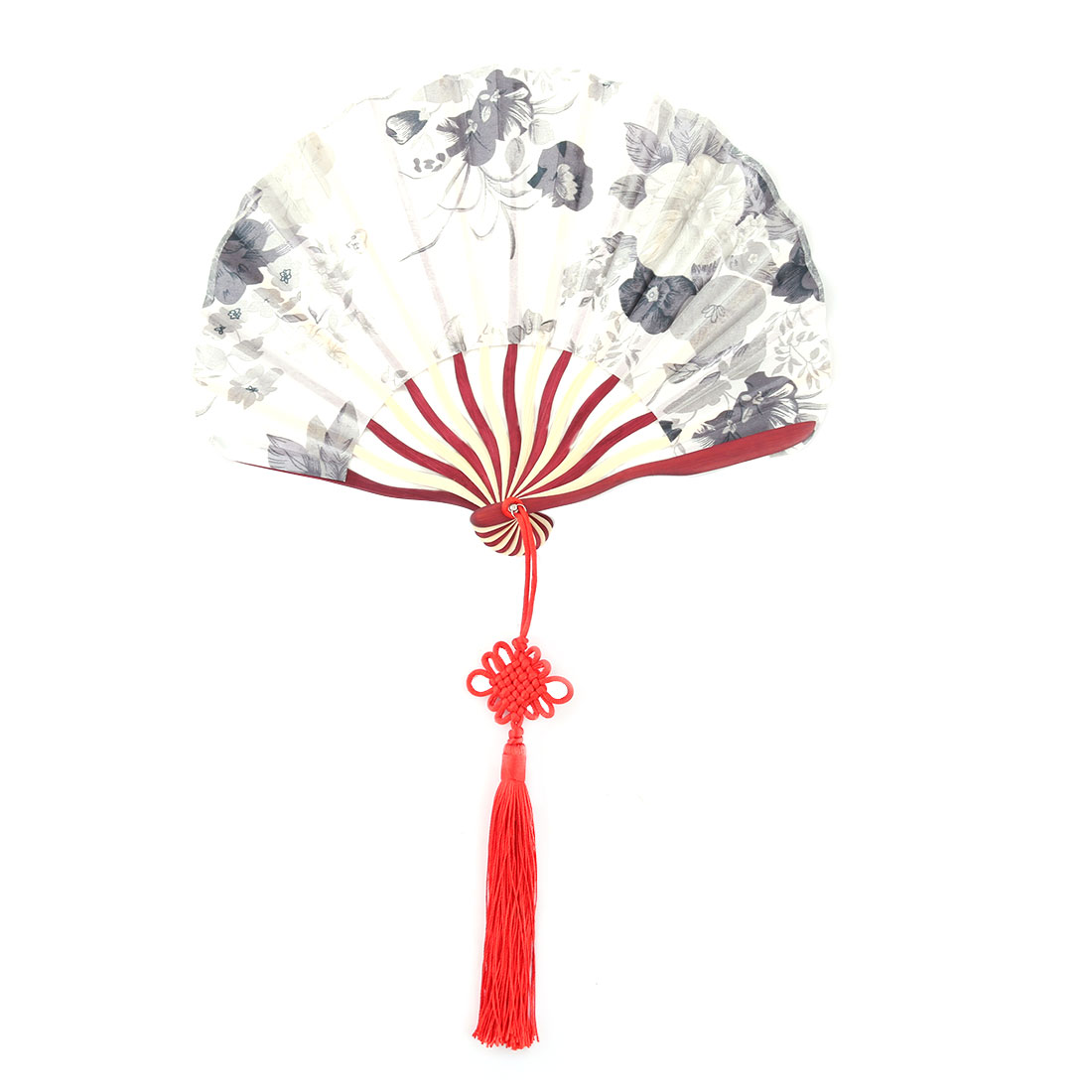Bamboo Frame Flower Pattern Chinese Knot Tassel Decor Dancing Hand Fan Gray