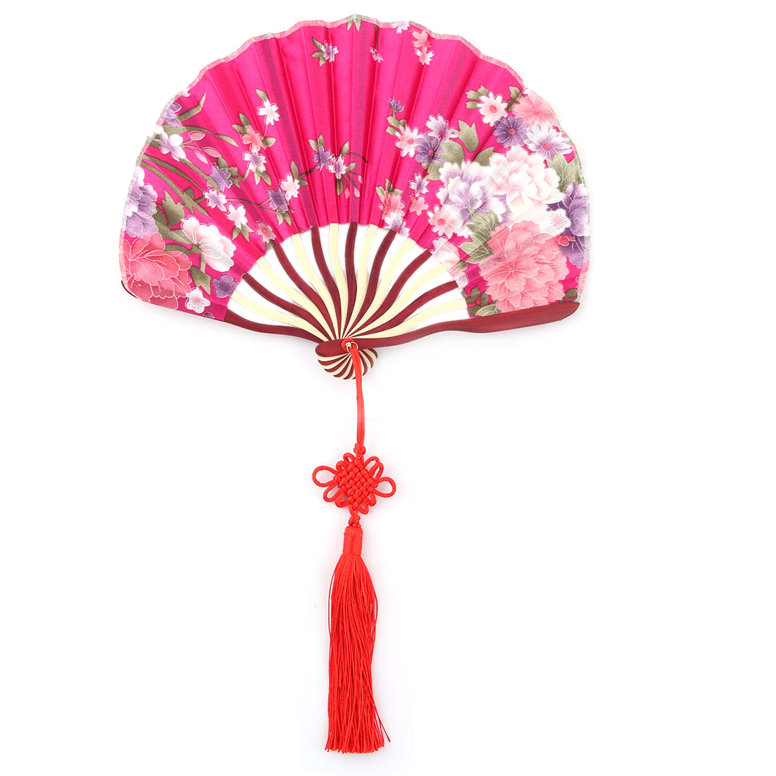 Women Bamboo Frame Flower Pattern Handheld Folding Summer Cooling Dancing Fan Fuchsia