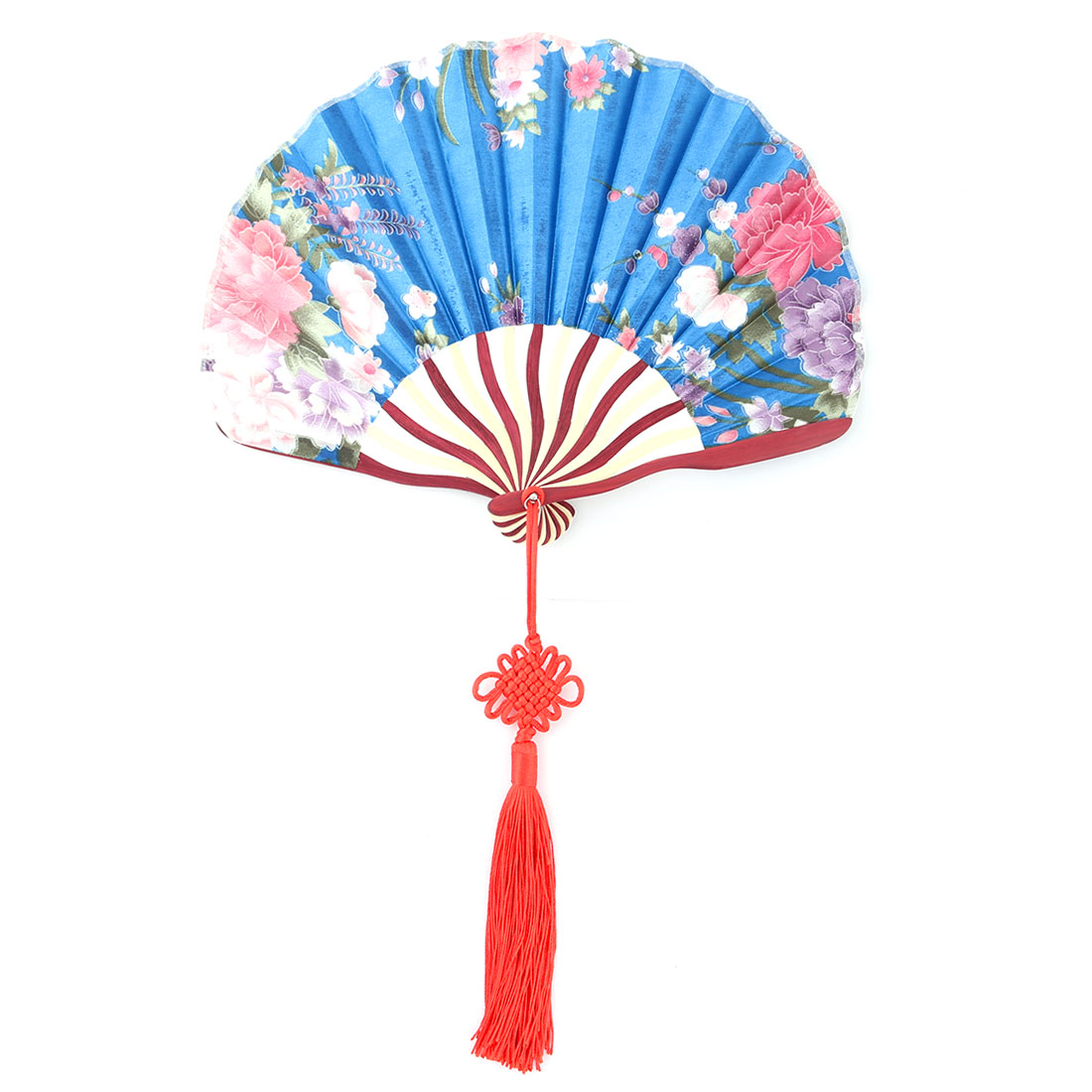 Bamboo Frame Flower Pattern Chinese Knot Tassel Decor Dancing Hand Fan Teal Blue