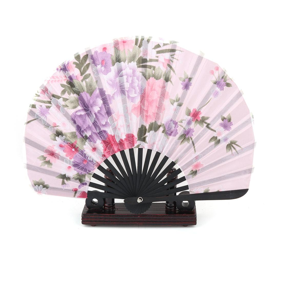 Dance Bamboo Flower Pattern Cooling Folding Hand Fan Display Light Pink 2 in 1