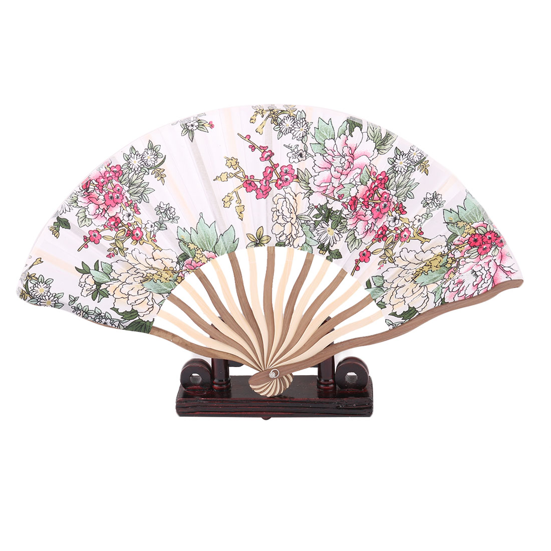 Bamboo Frame Flower Print Chinese Cooling Foldable Hand Fan Display Green 2 in 1