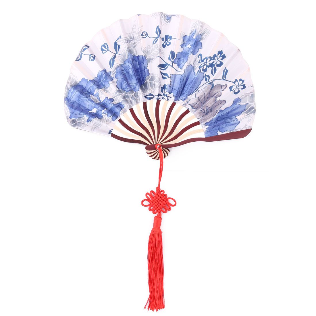 Bamboo Frame Flower Pattern Chinese Style Handheld Dancing Folding Fan White Blue