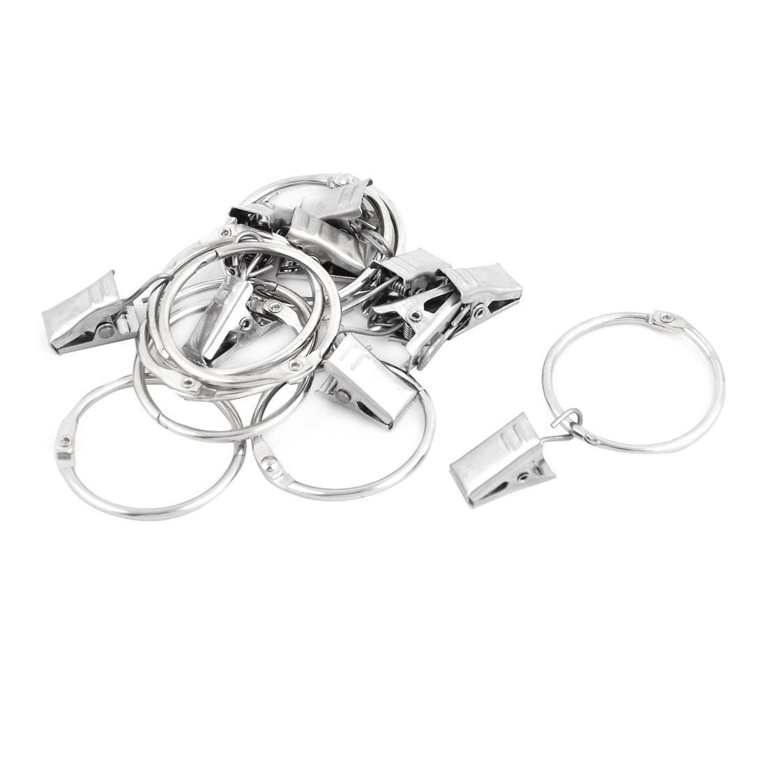Metal Window Curtain Drapery Rod Hanging Hook Hanger Clip Ring Silver Tone 10pcs