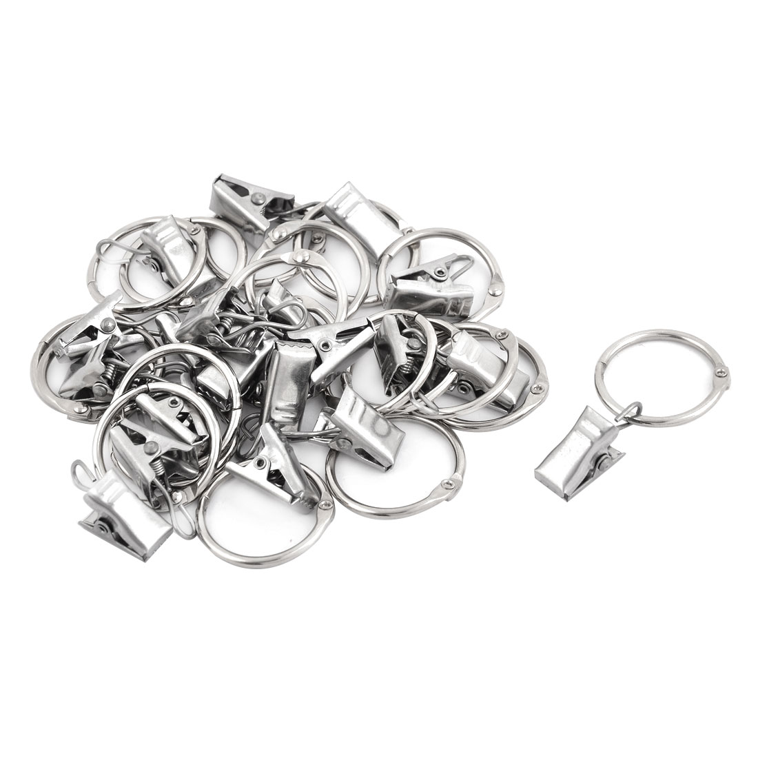 Metal Window Curtain Drapery Hanging Hook Clip Clamp Ring Silver Tone 20pcs