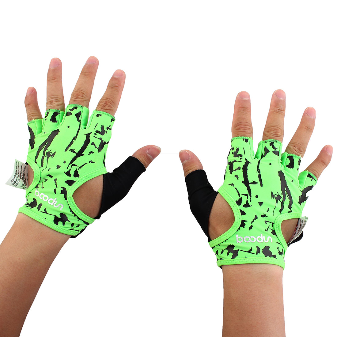 BOODUN Authorized Unisex Sports Training Workout Mittens Breathable Palm Support Fitness Gloves Green M Pair