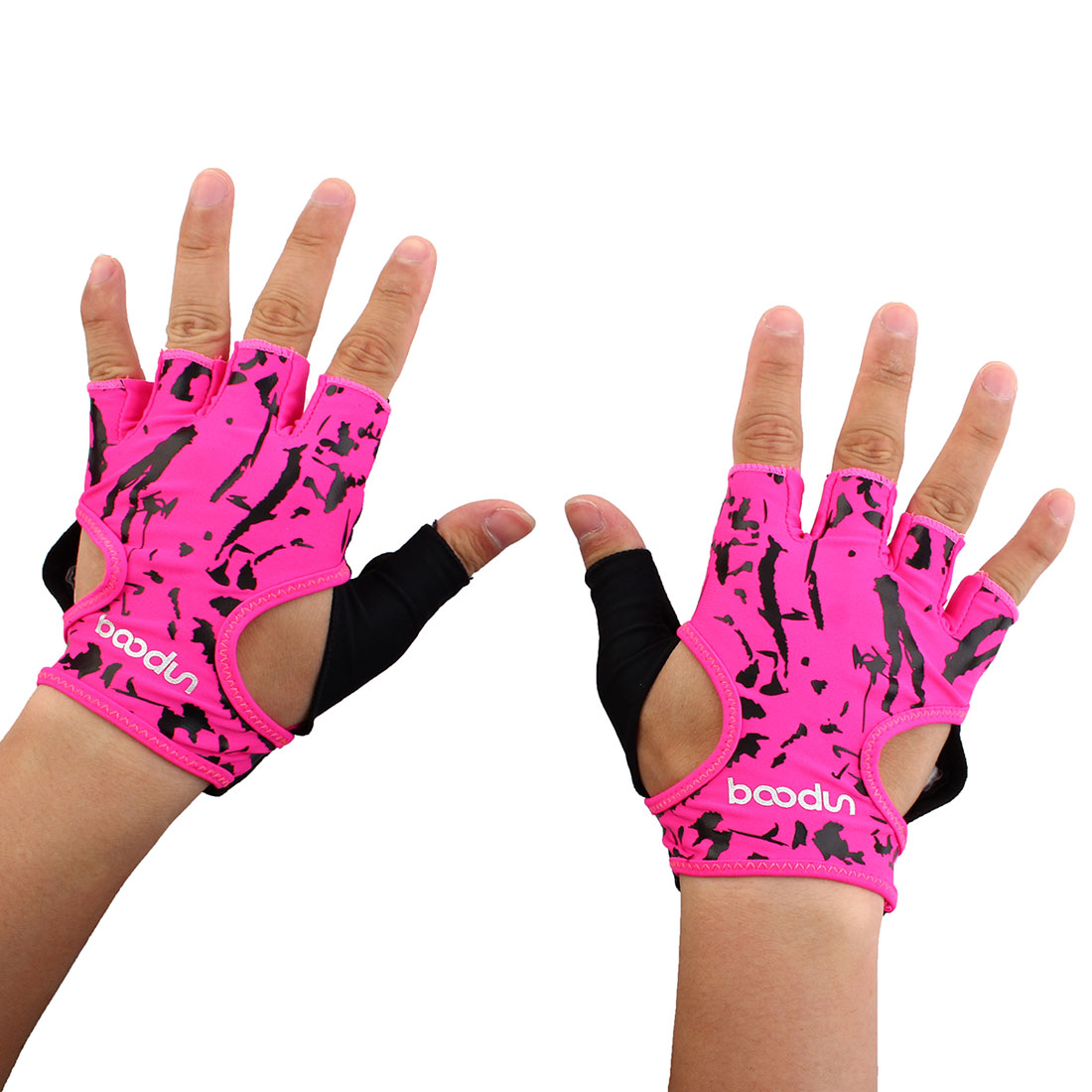 BOODUN Authorized Unisex Sports Training Workout Mittens Breathable Palm Support Fitness Gloves Fuchsia S Pair