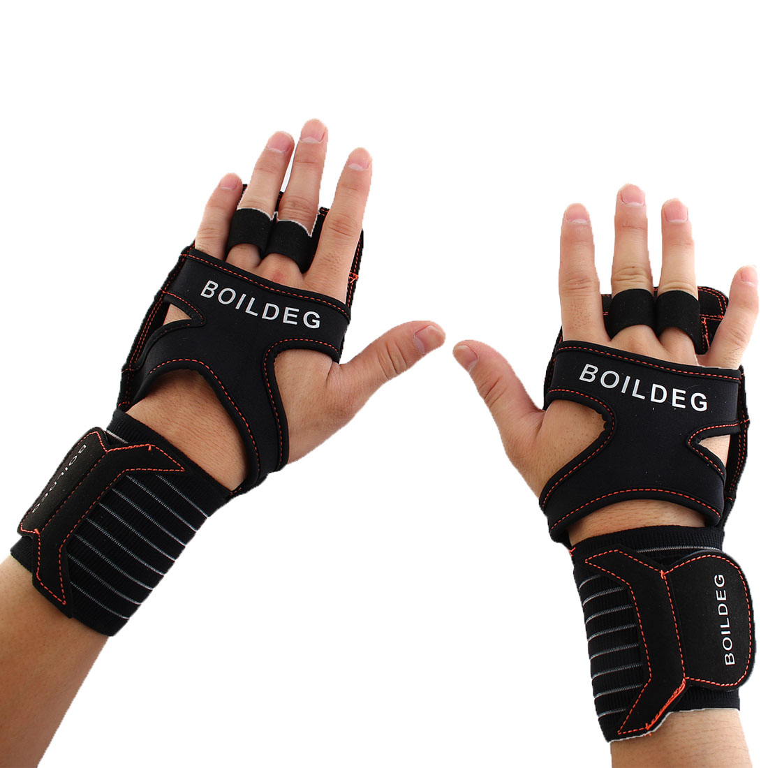 BOILDEG Authorized Unisex Sports Training Workout Mittens Wear-resisting Palm Support Fitness Gloves Orange L Pair
