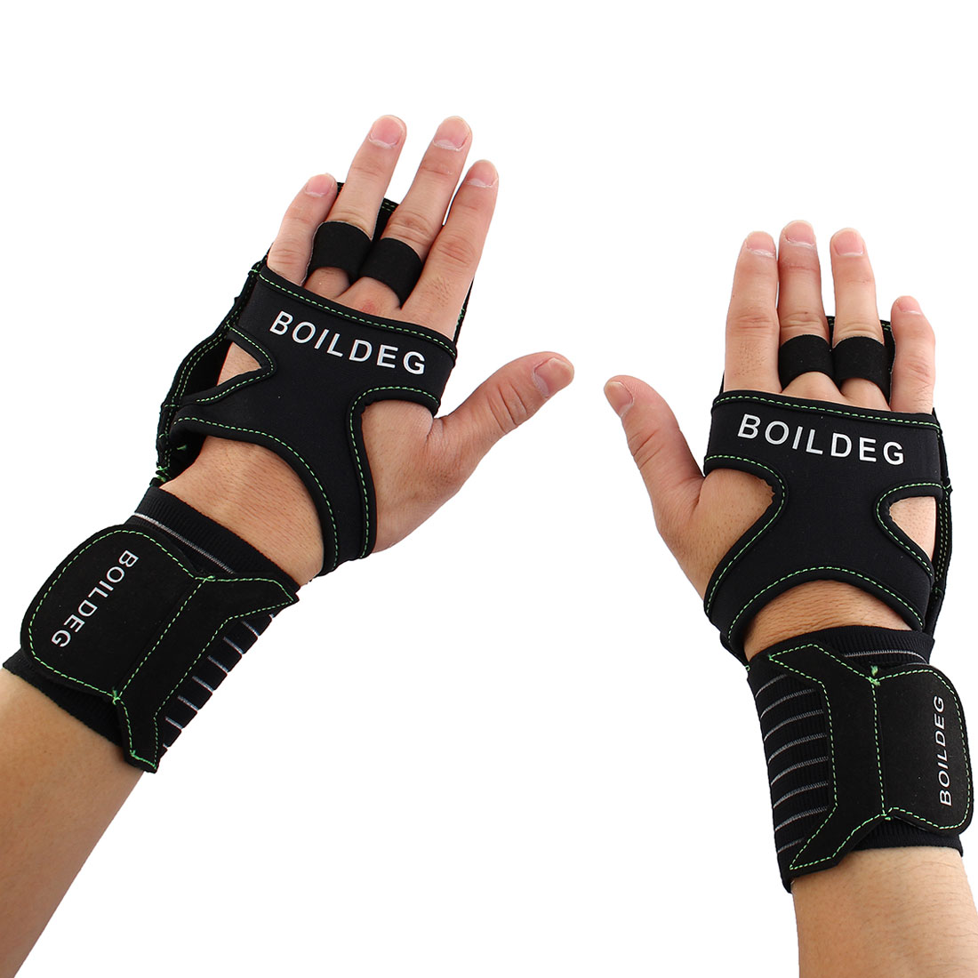 BOILDEG Authorized Unisex Sports Training Workout Mittens Wear-resisting Palm Support Fitness Gloves Green L Pair