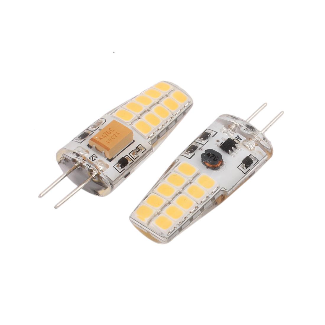 2 Pcs AC/DC12V 4W SMD LED Light Bulb Silicone Lamp 20-LED G4 2835 Warm White