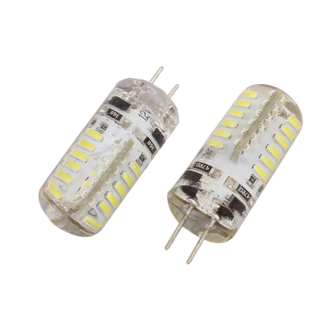 2Pcs DC 12V 3W G4 3014SMD LED Corn Light Bulb 48-LED Silicone Lamp Neutral White