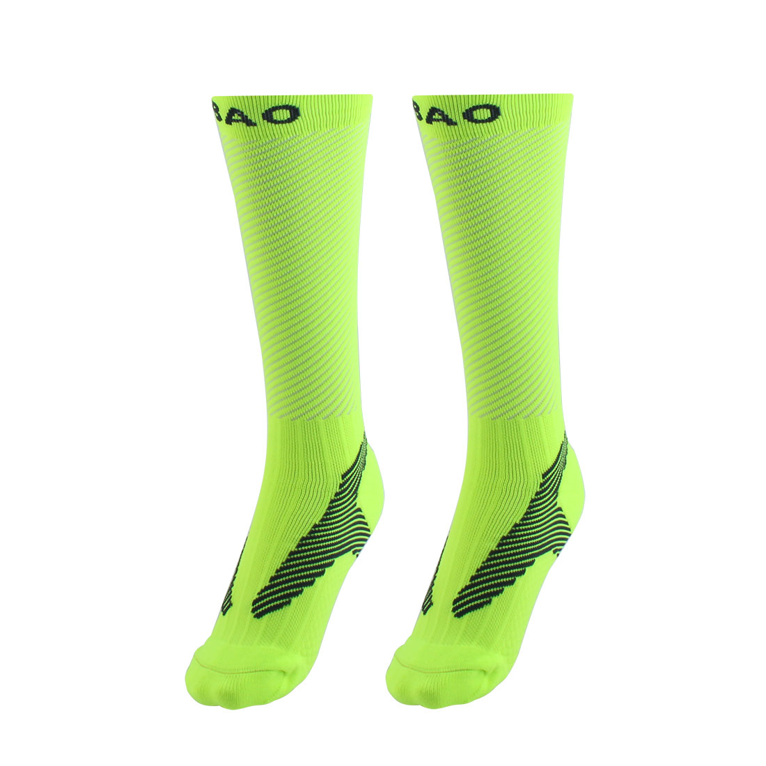 R-BAO Authorized Bicycle Jogging Mountain Bike Cotton Blend Breathable Sports Cycling Socks Fluorescent Green M