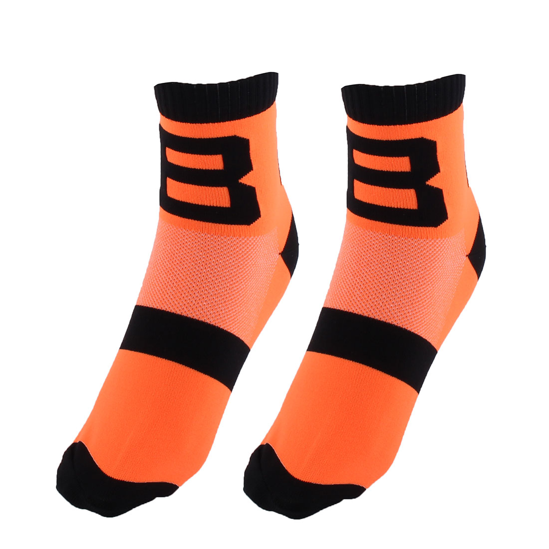 R-BAO Authorized Bicycle Football Mountain Bike Cotton Blend Compression Sports Cycling Socks Orange 2 Pairs